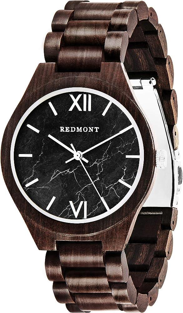 Oliver redmont, orologio per uomo, realizzato in autentico legno di sandalo, black 2017BlackMarble