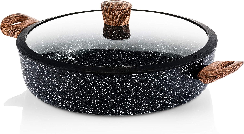 Westinghouse Cacerola Baja - 32 cm Sarten Antiadherente Inducción - con Tapa de Cristal - Edición Especial
