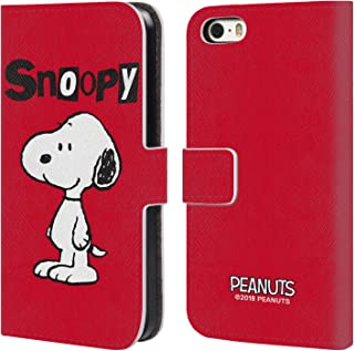 Official Peanuts Snoopy Characters Leather Book Wallet Case Cover Compatible for iPhone 5 iPhone 5s iPhone SE