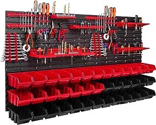 39 Stapelboxen, gereedschapshouder, wandrek, werkplaatsrek, gereedschapswand, 156 x 78 cm, gereedschapshouder, opslagsyste...