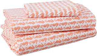 Poppy & Fritz Seahorses Cotton Sheet Set, Twin X-Large, Coral
