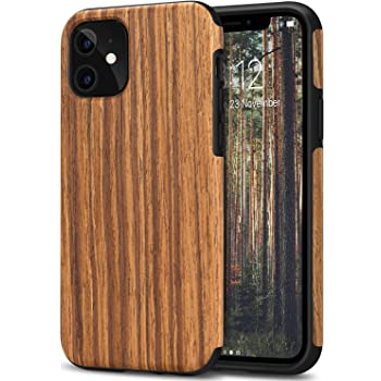 TENDLIN Compatible with iPhone 11 Case Wood Grain Outside Design TPU Hybrid Case (Red Sandalwood)