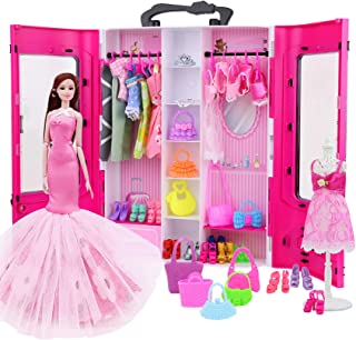 K.T.Fancy Doll Closet Wardrobe for 11.5 Inch Girl Doll Doll Clothes and Accessories Storage --...