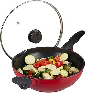 Relaxdays Poêle wok couvercle en verre, 30 cm, wok antiadhésif, four à gaz , électrique, poignée, 4 litres, rouge /noir.