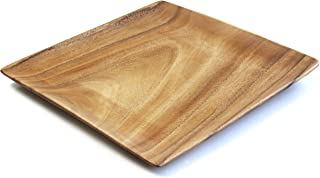 Pacific Merchants Acaciaware Natural Acacia Wood Square Serving Tray, 12-Inch, Set of 4