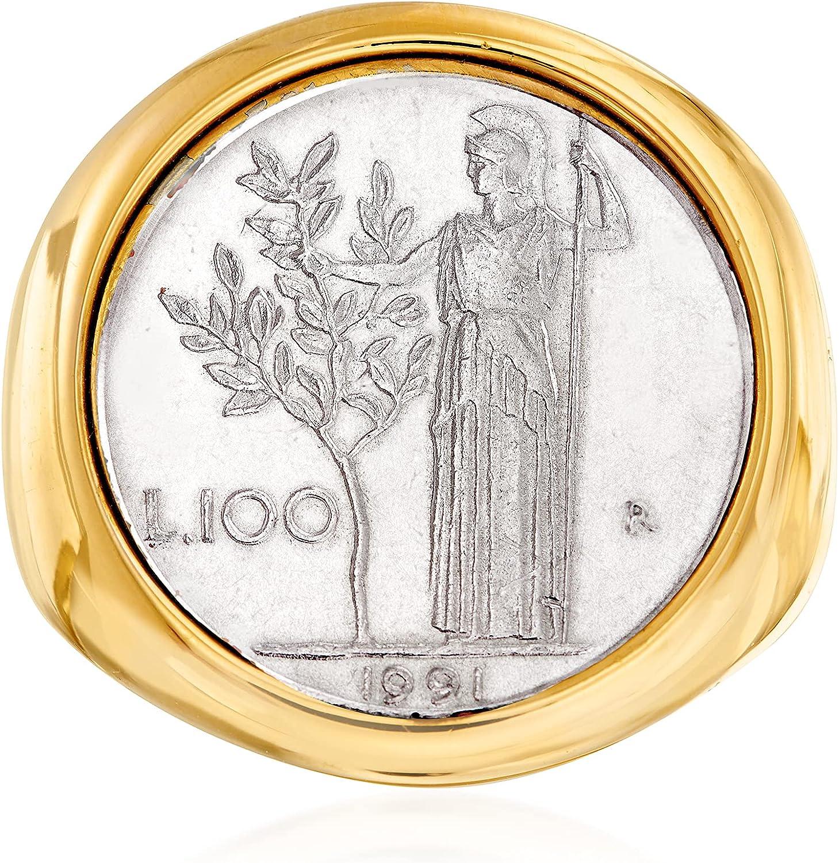 Ross-Simons Italian Andiamo 14kt Yellow Gold Over Resin 100-Lira Coin Ring