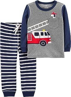Baby Boys Stripe Fire Truck Jogger Pants Set, Grey/Navy Blue/White