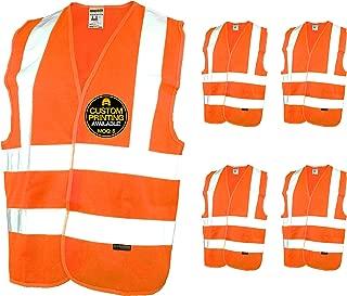 KwikSafety (Charlotte, NC) CREW Class 2 ANSI (Snag Free Breakaway Closure) Safety Vest (5 PACK) High Visibility Lightweight Reflective Tape Hi-Vis Construction Work Hi-Viz Surveyor Mens Orange Large
