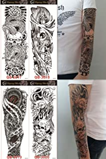 DaLin 4 Sheets Extra Large Temporary Tattoos, Full Arm (Set 5)