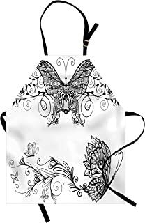 Ambesonne Black and White Apron, Butterfly with Floral Mandala Pattern Bohemian Design with Butterfly Wings, Unisex Kitchen Bib with Adjustable Neck for Cooking Gardening, Adult Size, White Black