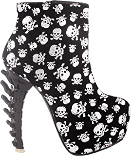 SHOW STORY Cool Zip High-top Bone High Heel Hidden Platform Ankle Boots,LF40603