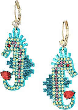 Betsey Johnson - Colorful Multi-Stone Seahorse Drop Earrings