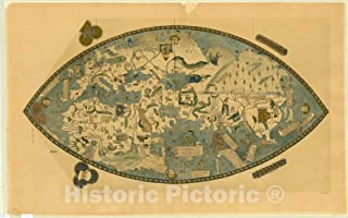 Historic Pictoric Map : World map 1912, Genoese World map, Antique Vintage Reproduction : 71in x 44in