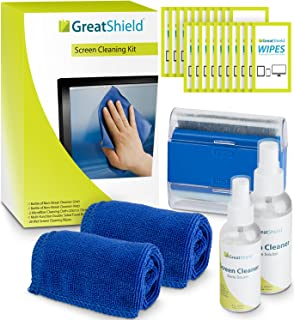 GreatShield Screen Cleaning Kit with 2 Bottle Solution (60ml and 120ml), 2 Microfiber Cloths, 20 Non-Alcohol Screen Cleani...