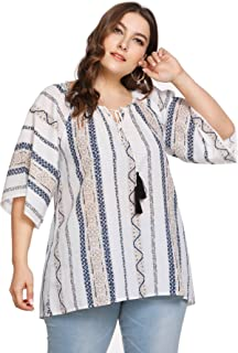 92fc0bac194 Milumia Womens Loose Fitted Summer Plus Size Baggy Printed Bohemian Casual  Tops Blouses
