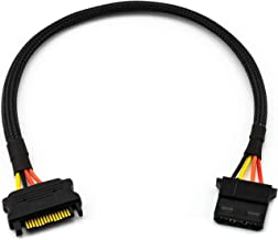 "CRJ SATA Power 15-Pin Male to 4-Pin Molex Female 12"" Sleeved Adapter Cable"