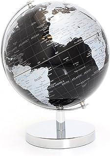 Lesser & Pavey Globo Mundial, Metal, Plata y Negro, 19 cm