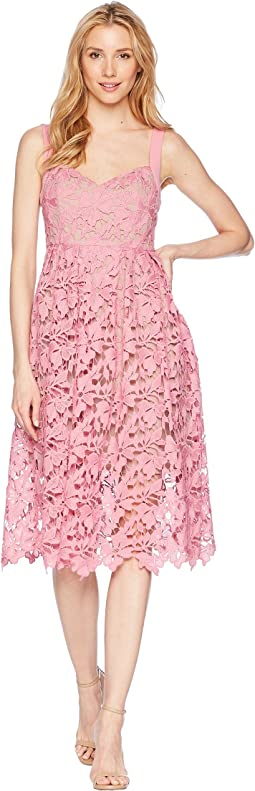 Donna Morgan Lace Midi Dress with Sweetheart Neckline