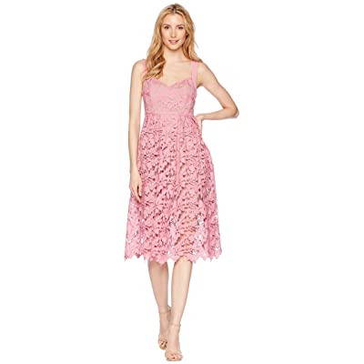 Donna Morgan Lace Midi Dress with Sweetheart Neckline (Pink Sherbet) Women