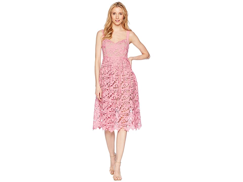 Donna Morgan Lace Midi Dress with Sweetheart Neckline (Pink Sherbet) Women