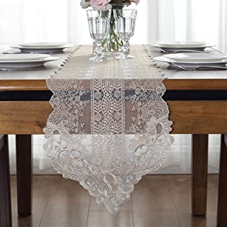 Dentelle Chemin de Table Toile de Jute, Lin Table Runner Linge de Table Nappe Lavable Imperméable Centre de Table Noel Dec...