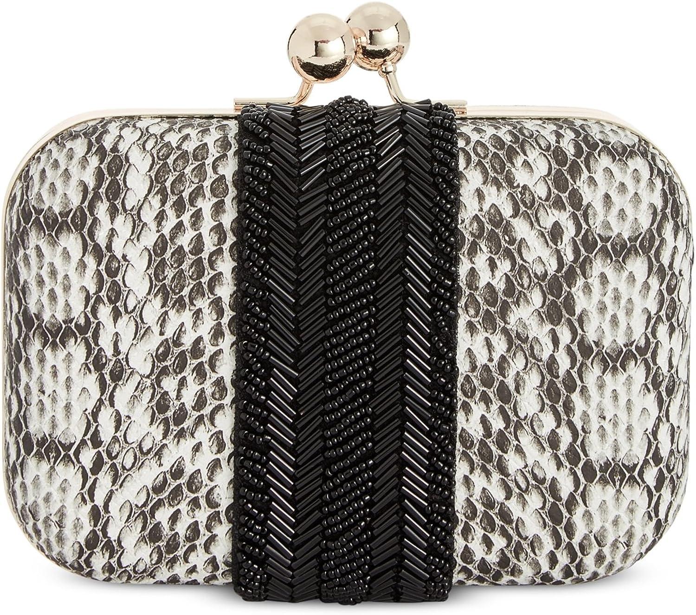 INC Womens Elenaa Faux Leather Beaded Clutch Handbag B W Small