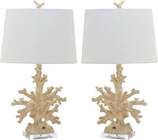 MISC Set of 2 - Cream Coral Table Lamp Ocean Reef Light Branch Coastal Design Nautical Lighting Tropical Decor Cottage Lodge Vacation Home Summer Indoor, Acrylic Resin 28