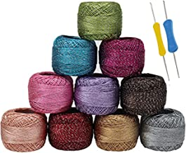 10 x Sparkly Colourful Glitter Thread and 2 Crochet Hooks - Crochet Yarn in an Assortment of Colors - Each Thread Ball 10 g / 85 Meters - Ideal for Beginners or Crochet Enthusiasts