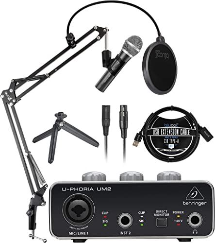 lowest Audio-Technica ATR2100X-USB Cardioid Dynamic Microphone (ATR Series) Bundle 2021 with Behringer U-PHORIA UM2 Audio Interface for Windows & Mac, Blucoil 3' USB Extension Cable, and Boom Arm Plus Pop high quality Filter online