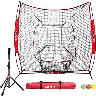 McHom 7 'x 7' بیس بال و Softball تمرین شبکه خالص با سفر جاده، 3 توپ وزن و منطقه اعتصاب برای ضربه زدن، Pitching، باطری و Fielding تمرین | قابل انعطاف و قابل حمل