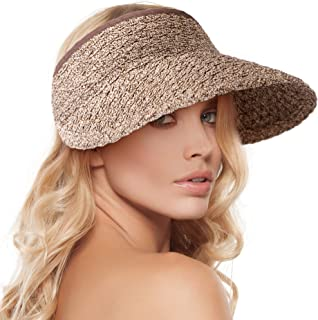 Women's Wide Brim Sun Hats Roll-up Foldable Straw Golf Visor Hat