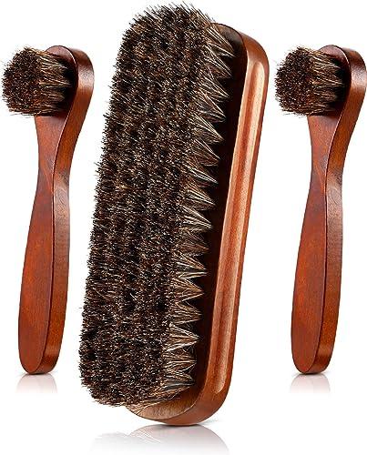 Jovitec 3 Pieces Horsehair Daubers Shoe Brush Set