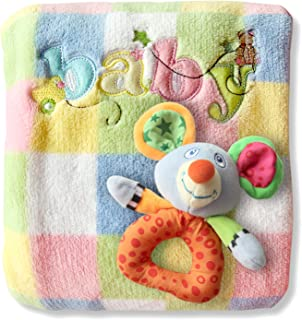 Baby Blanket & Rattle Gift Set for Boys & Girls. Unique Unisex Baby Shower Gifts. Soft Fleece Quilt for Receiving, Swaddling, Car Seat, Nursery & Crib. Toddler to Newborn 30