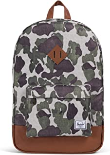 Herschel Heritage Backpack, Frog Camo/Tan Synthetic Leather, One Size