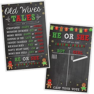 Christmas Gender Reveal Party Supplies - Old Wives Tales & Cast Your Vote Gender Reveal Game Christmas Theme Posters - 11x17 Printed Posters with White Chalk Writer Included - Design by Katie Doodle