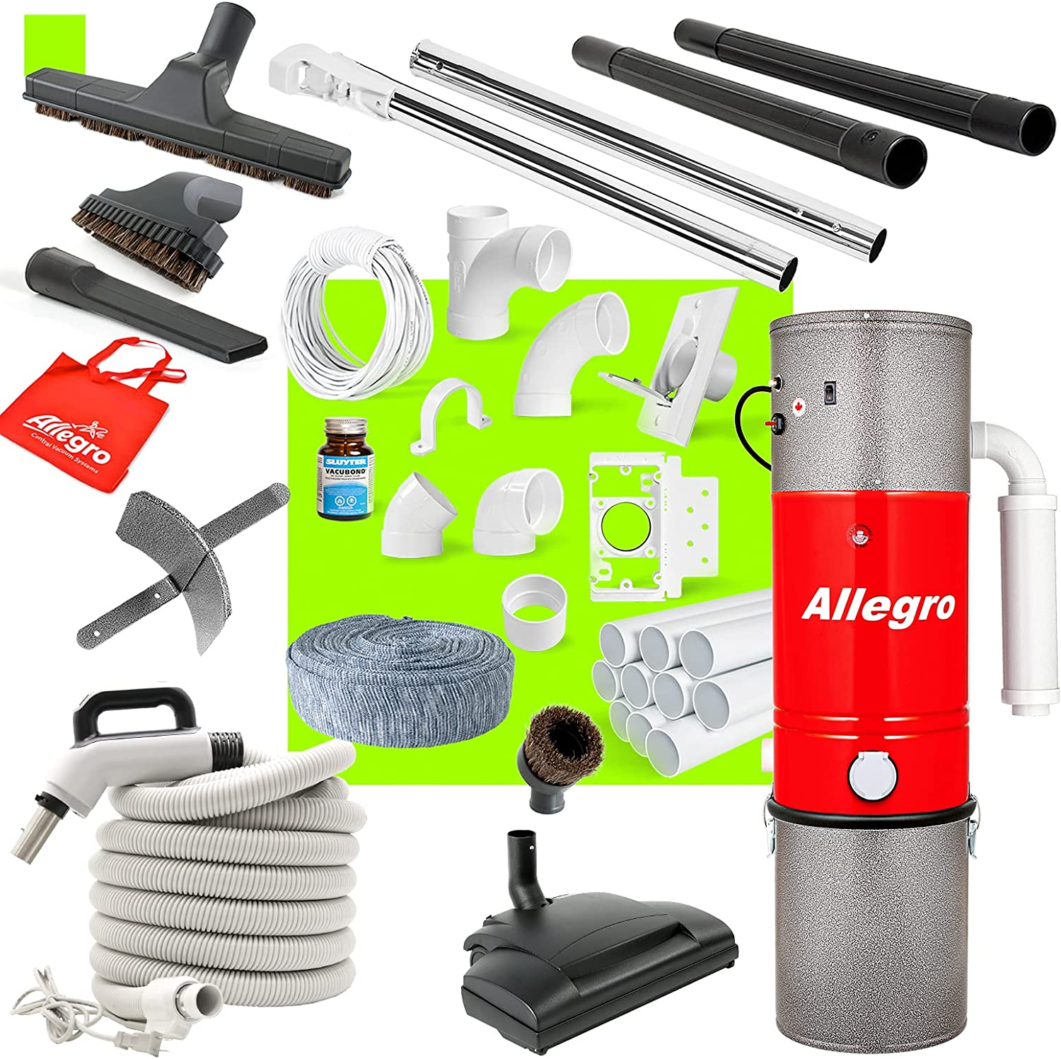 Central Vacuum Complete Electric Package with Recommended 3 Allegro Unit Over item handling ☆ Inl