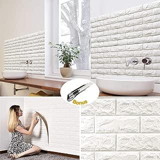 10Pcs Brick Wall Panels Peel and Stick Self-Adhesive 3D Foam Stone Textured White Faux Wallpaper Tiles for Living- Bedroom TV Background Home Decor DIY – 58.13 sq.Feet & Premium 1pcs Utility Knife