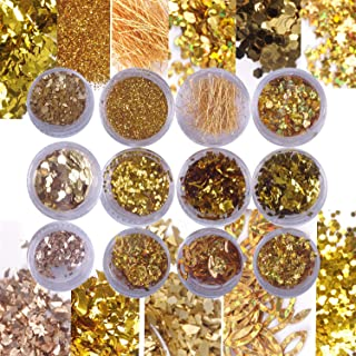 Laza Nail Art Glitter Sequin Flake Multiple Shaped Mixed Diamond Dust 3D Rhinestones Laser Strips DIY Design for Face Body Hair Make Up Decoration Festival - Noble Gorgeous Golden Years 12 Boxes