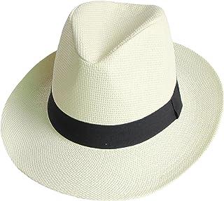 5729e80bfbdd Unisex Men Women Off White Panama Black Band Wide Brim Straw Hat Summer  Holiday Cricket