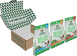 GREENIES BREATH BUSTER Bites Dog Treats Variety Pack: Chicken & Parsley Flavor, Crisp Apple Flavor, and Fresh (3, 11oz. Pouches in Pack)
