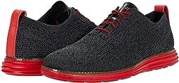 Black/Gray Pinstripe Knit/Flame Scarlet