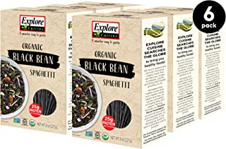 Explore Cuisine Organic Black Bean Spaghetti (6 Pack) - 8 oz - High Protein, Gluten Free Pasta, Easy to Make - USDA Certif...
