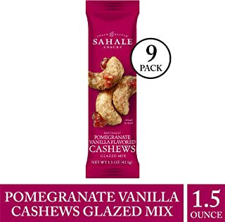 Sahale Snacks Pomegranate Vanilla Flavored Cashews Glazed Mix, 1.5 Ounces (9 Count)