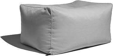 Jaxx Leon Outdoor Bean Bag Ottoman Bench, Premium Sunbrella, Granite
