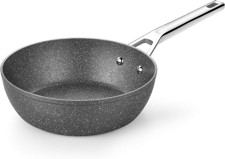 Monix Granite - Sartén honda 24 cm, aluminio forjado con antiadherente tipo piedra sin PFOA, aptas inducción, 46 x 24 x 11 cm