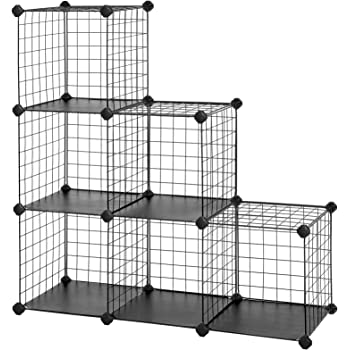 "SONGMICS Metal Wire Cube Storage,6-Cube Shelves Organizer,Stackable Storage Bins, Modular Bookcase, DIY Closet Cabinet Shelf, 36.6""L x 12.2""W x 36.6""H, Black"