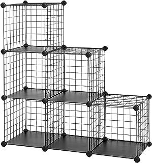 "SONGMICS Metal Wire Cube Storage,6-Cube Shelves Organizer,Stackable Storage Bins, Modular Bookcase, DIY Closet Cabinet Shelf, 36.6""L x 12.2""W x 36.6""H, Black ULPI111H"