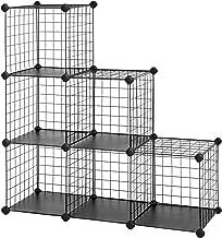 "SONGMICS Metal Wire Cube Storage,6-Cube Shelves Organizer,Stackable Storage Bins, Modular Bookcase, DIY Closet Cabinet Shelf, 24.8""L x 12.2""W x 36.6""H, Black"