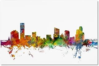 Grand Rapids Michigan Skyline by Michael Tompsett, 22x32-Inch Canvas Wall Art