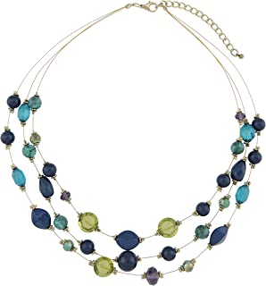 N0016-Yellow COIRIS Multi Layer Beaded Illusion Wire Collar Statement Necklace for Women